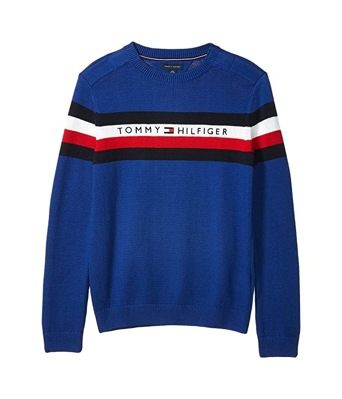 Tommy Hilfiger Adaptive  Signature Crew Neck Sweater (Little Kids/Big Kids) (Sodalite Blue) Mens Clothing