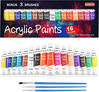 Acrylic Paint Set, Shuttle Art 16 x12ml Tubes Artist Quality Non Toxic Rich Pigments Colors Great for Kids Adults Professi...