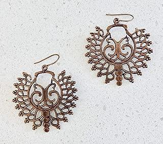 Native Tribal Design Filigree Copper Earrings