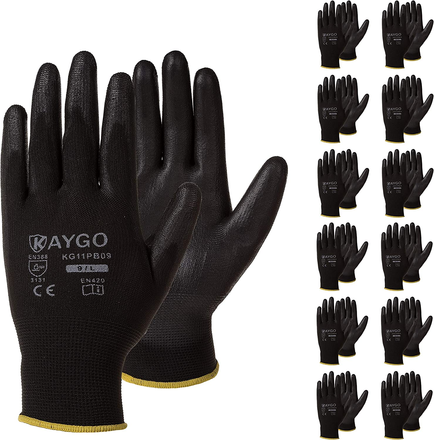 Safety Work Gloves PU 70%OFFアウトレット Coated-60 Pairs 買い物 KG11PB Small KAYGO 60Pai