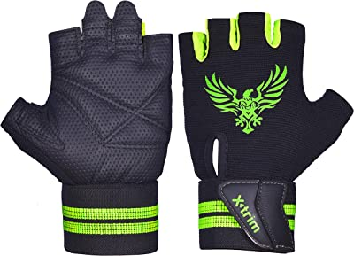 Xtrim Pro Firm ( M / L / XL / XXL ) Professional Wrist Wrap Gym - Grey colour - Washable Real Leather, Durable, Double Stitched, 4-way Stretch Back Mesh, Half Finger Length, No Sweat, Extra Foam Padded, Luxurious Closure. Uses: Weight Lifting, Gym Gloves, Fitness Gloves, Work out Gloves, Palm Protection, Cross Country, Comfort, No Calluses, Grip Strength, Gift For Men.