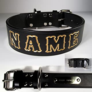 Personalized 1 ½ inch wide Black English Bridle Leather Dog Collar. Your Pet's Name is embossed into the leather at no additional charge. Lettering can be outlined in your choice of 17 different colors at no additional charge. This Collar includes a collar mounted brass id name plate with your owner name and contact phone number engraved at no additional charge.