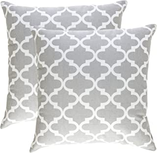 TreeWool Decorative Square Throw Pillowcases Set Trellis Accent 100% Cotton Cushion Cases Pillow Covers (24 x 24 Inches / 60 x 60 cm; Silver Grey & White) - Pack of 2