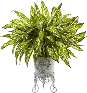 Nearly Natural 6883 2' Aglaonema with Metal Planter,Green,6.75'' x 22.5'' x 6.75''