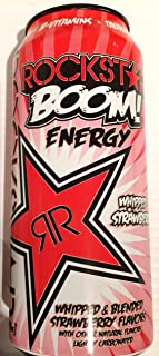 8 Pack - Rockstar Boom Energy - Whipped Strawberry - 16oz. + Energy Drink Outlet Sticker