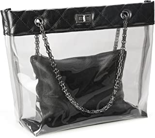 Candy Color 2 in 1 Chain Strap Clear Handbags Transparent Tote Purses for Women