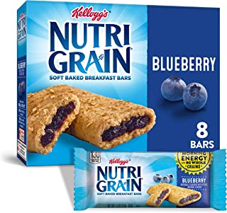 Kellogg's Nutri-Grain, Soft Baked Breakfast Bars, Blueberry, Made with Whole Grain, 10.4oz (8 Count)