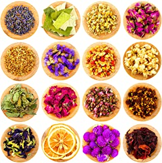 16 Bags Dried Flower and Herb Natural Multiple Dry Flower Herbs Set Rosebuds Lavender Jasmine Chrysanthemums Scents for DI...