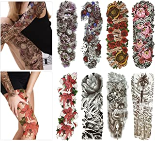 Fashion Temporary Tattoo Transfer Stickers - 8 Sheets Large Size Tattoo Body Stickers for Man & Women Waterproof Removeable Non-Toxics & Safe for All Skin (Full Arm Set.3)