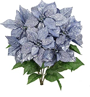 Admired By Nature 7 Stems Faux Poinsettia Sequins Flowers Bush for Home, Office, Hotel and Seasonal Events Arrangement Decoration, Periwinkle