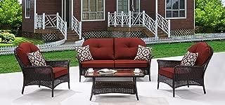 Hanover SMAR-4PC-RED San Marino 4 Piece Patio Set, Crimson Red Outdoor Furniture