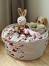 Stuffed Animal Storage Bean Bag Chair for Kids, Eco friendly Red Fox Pouf Cover, Woodland Decor Toy Organizer Basket