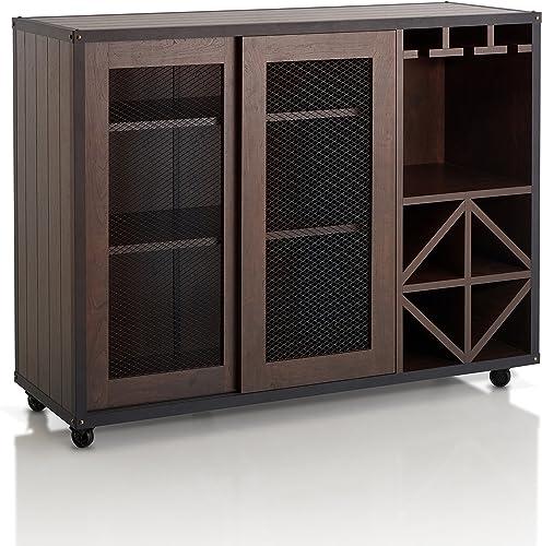 YSKWA Sideboard Console Table with Bottom Shelf Farmhouse Wood//Glass Buffet Storage Cabinet Living Room Dark Brown