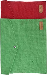 ECOTARA Go Natural Multipurpose Eco Friendly Everyday Use Button Closure Jute Envelopes (10 X 12.5 X 1-inch)-Green & Red S...