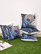 b7 CREATIONS Peacock Feathers Digital Printed Jute Cushion Cover (Green,16 x 16 inch) - Set of 5