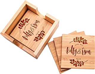 Personalized Coasters, Set of 4 w/Holder - Custom Bamboo Coaster for Drinks, Wedding Anniversary Gifts for the Couples, Bridal Shower Gifts, Coaster Set with Holder #2