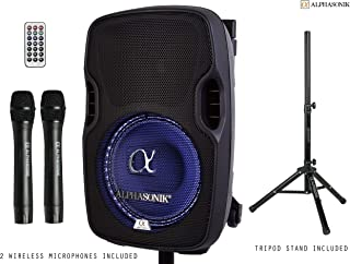 """Alphasonik 8"""" Portable Rechargeable Battery Powered 800W Pro DJ Amplified Loud Speaker with 2 Wireless Microphones Echo Bluetooth USB SD Card Aux MP3 FM Radio PA System LED Ring Karaoke Tripod Stand"""