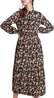 Our Heritage - Women's Elegant Floral Print Button-Down Midi A-line Dress