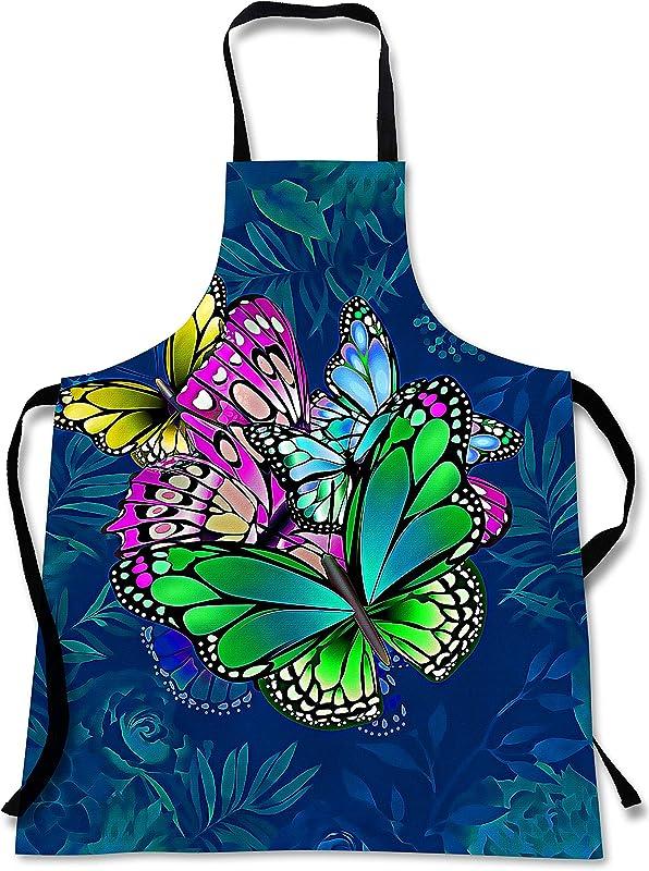 Butterfly Cooking Apron 3D Print Animals Butterflies Design Made In USA Home Kitchen Souvenir Gift 1 Size Bib Unisex