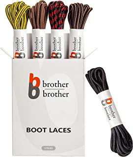 BB BROTHER BROTHER Boot Laces (5 Pairs) of Heavy Duty and Durable Round Shoelaces for Work, Hiking and Walking Boots