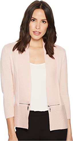 Ivanka Trump Open Fly-A-Way Zipper Cardigan Sweater