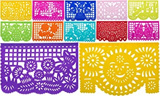 Mexican Tissue Papel Picado Banner I Salio El Sol I 12 Tissue Panels in Medium Size Multi-Color I Colors and Designs as Pictured