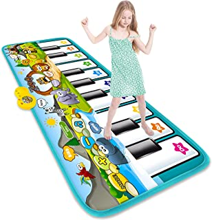 STREET WALK Musical Piano Dance Mat - Kids Musical Play Mats(59x24.6in) - Music Keyboard Dance Touch Play Mat - Early Education Toys for 1 2 3 4 5 6 Year Old Baby Girls Boys
