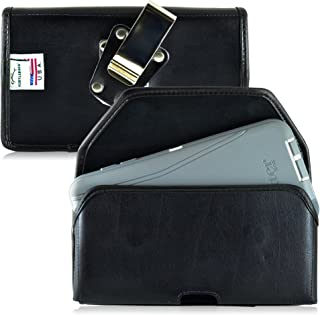Turtleback Belt Case Made for Motorola Droid Turbo 2 with Otterbox Defender or LIFEPROOF case Black Holster Leather Pouch with Heavy Duty Rotating Ratcheting Belt Clip Horizontal Made in USA