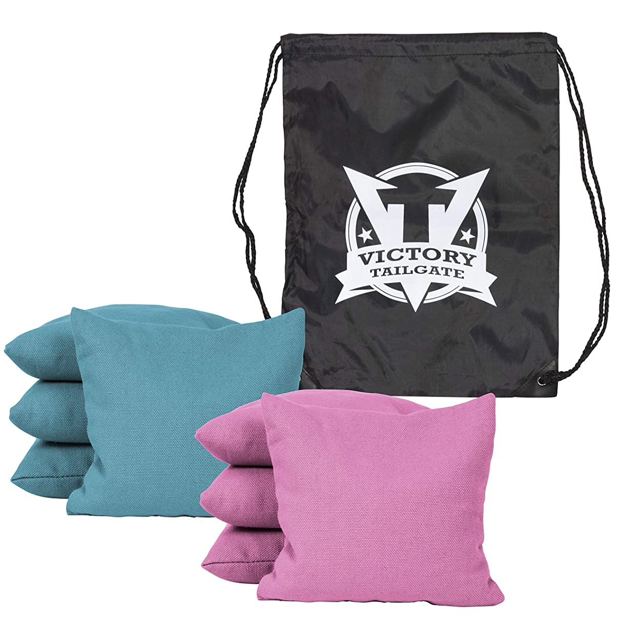 Victory Tailgate 8 Colored Corn Filled Regulation Cornhole Bags with Drawstring Pack (4 Black, 4 Gold)