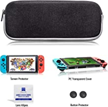 Carrying Case for Nintendo Switch with Transparent Hard Shell & Switch Screen Protector Dual Protection Large Capacity Del...