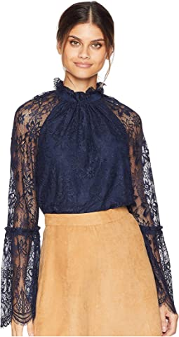 Soft Woven Kendall Lace Bell Sleeve Top