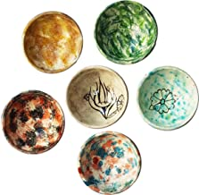 Decorative Desing Turkish Ceramic Bowl Set of 6 - Handcrafted Multicolor Small Bowl (water Marbling)