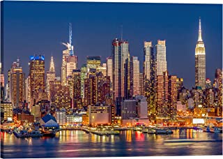 IslamicArtPoint New York Skyline on Canvas/Collection of Times Square, Brooklyn Bridge and City Inside Option (Riverside)