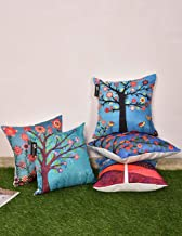 b7 CREATIONS Floral Digital Printed Jute Cushion Cover (Blue and Green,16 x 16 inch) - Set of 5