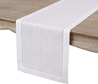 Solino Home Hemstitch Linen Table Runner - 14 x 36 Inch, Handcrafted from European Flax, Machine Washable Classic Hemstitch - White
