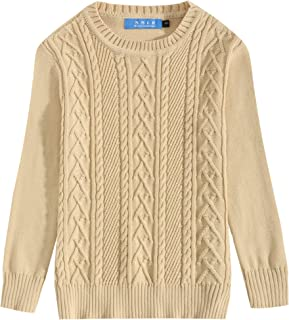 SSLR Big Boys' Winter Crewneck Ribbed Cable Knit Pullover Sweater