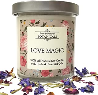 Love Magic Pure & Natural Soy Candle 8.5 oz 100% All Natural & Non Toxic with Rose, Honeysuckle & Lilac Organic Oils For Attraction, Commitment, Passion & Seduction Wiccan Pagan Rituals Magick