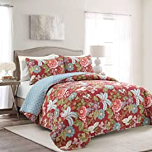 Lush Decor Red and Blue Sydney 3-Piece Quilt Set Luxury Bedding (King)