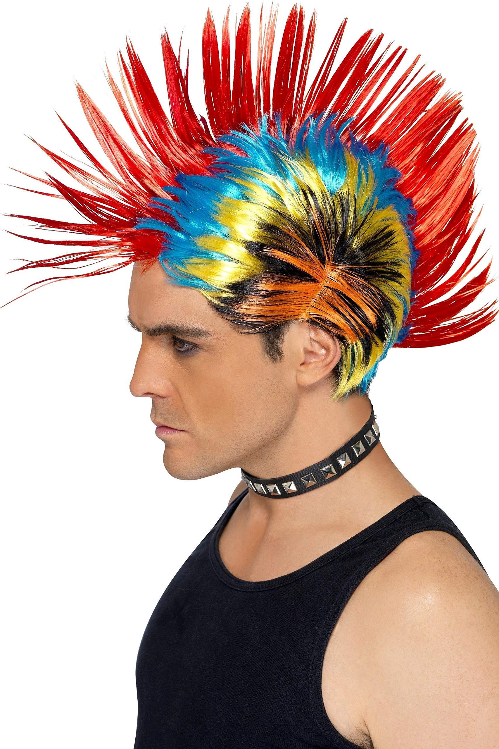 Party//Fancy Dress//Halloween Wig Mohawk 80ies Wave Glam Punk Black /& Blue WIG ME UP