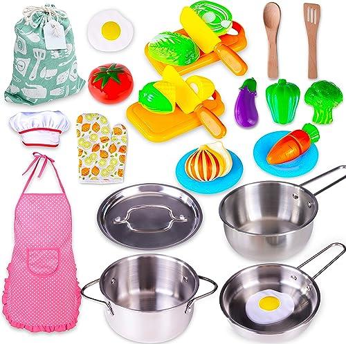 Küchenset Pan Set for Children/'s Kitchen Play Kitchen Accessories 13 PIECES POT WATER BOILER
