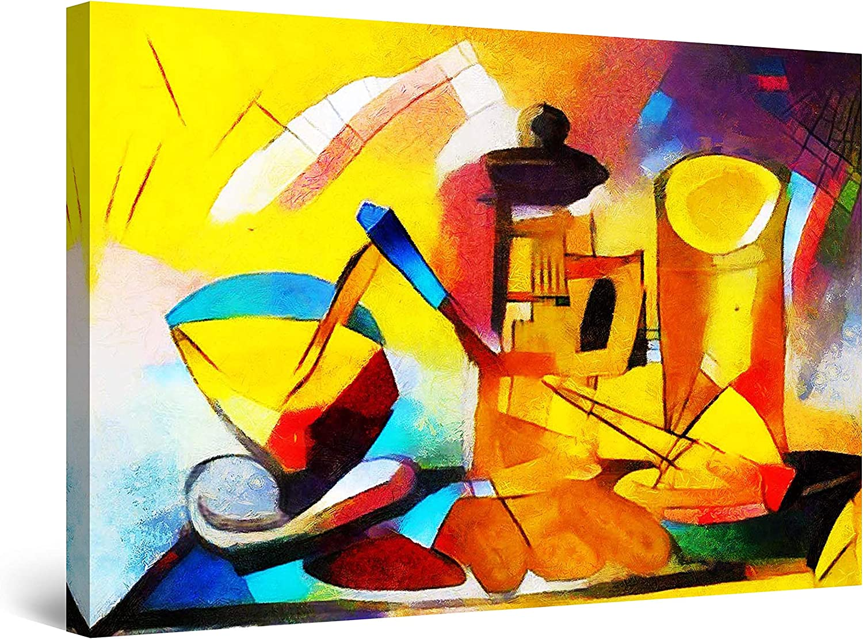 アウトレット Startonight Canvas Wall 大注目 Art Abstract Pain - Kitchen Table Cubism