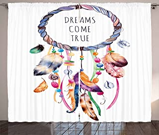 Ambesonne Feather Curtains, Dream Catcher Illustration Bohemian Style Image, Living Room Bedroom Window Drapes 2 Panel Set, 108