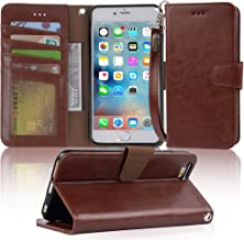 Arae Wallet case for iPhone 6s Plus/iPhone 6 Plus [Kickstand Feature] PU Leather with ID&Credit Card Pockets for iPhone 6 Plus / 6S Plus 5.5 inch (not for 6/6s) (Dark Brown)