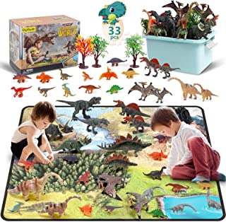 DigHealth 33 Pcs Dinosaur Toy Playset with Activity Play Mat, Realistic Dinosaur Figures, Trees, Rockery to Create a Dino ...