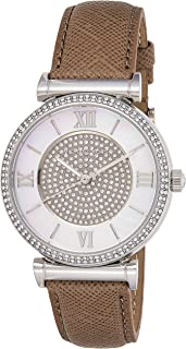 Michael Kors Womens Quartz Watch, Analog Display and Leather Strap MK2377