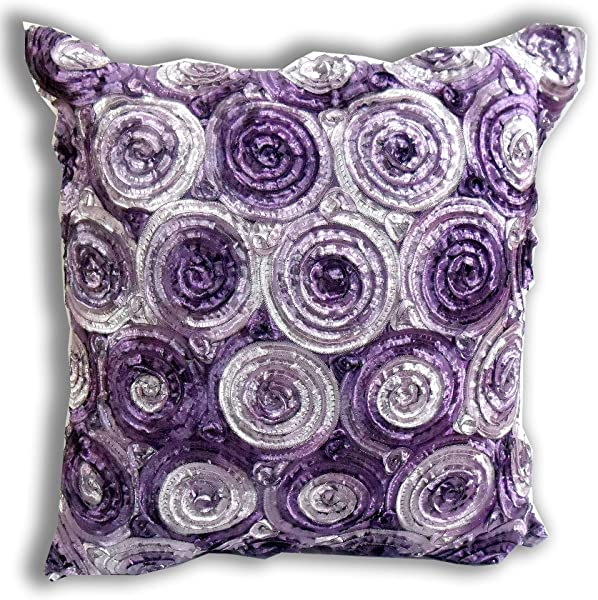 THAI SILK ENJOY SMILE Single Two Tone 3d Bouquet Of Purple Roses Throw Cushion Cover Pillow Sham Handmade By Satin For Decorative Sofa Car And Living Room Size 16 X 16 Inches