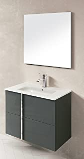Dawn Onix Series Anthracite Vanity Set ONIX-3207 Sink top (ONIC124611-07), Cabinet (RCST124625), One Frameless Mirror (ROMM124622), 32