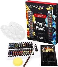 Salvador Acrylic Paint Set - 24 Colors, Artist Paint Kit with Premium Paint Brushes, Mixing Knife, Paint Pallet and Sponge...