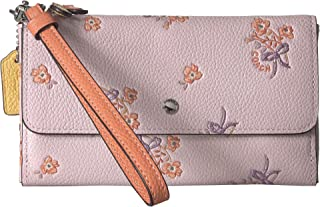 Womens Triple Small Wallet in Colorblock With Floral Bow Print