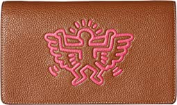 COACH Keith Haring Leather Fold-Over Clutch Crossbody,Saddle